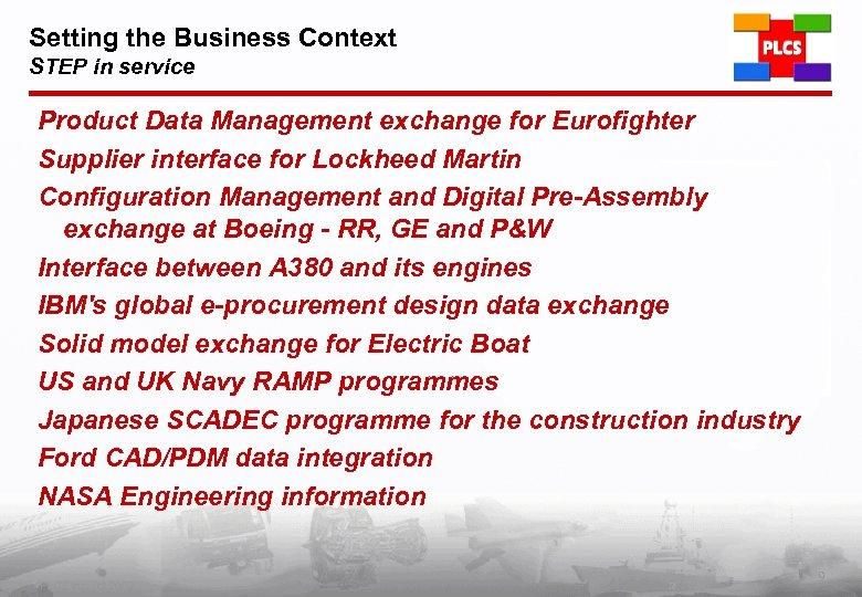 Setting the Business Context STEP in service Product Data Management exchange for Eurofighter Supplier