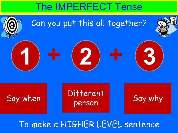 The IMPERFECT Tense Can you put this all together? 1 + 2 + 3