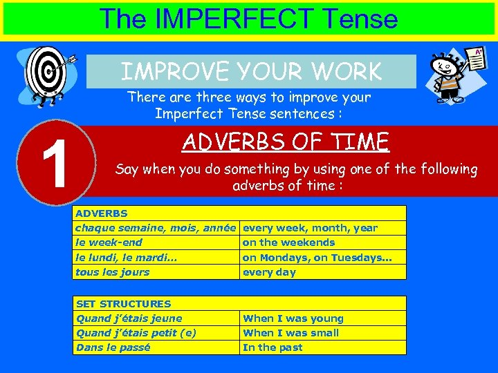 The IMPERFECT Tense IMPROVE YOUR WORK There are three ways to improve your Imperfect