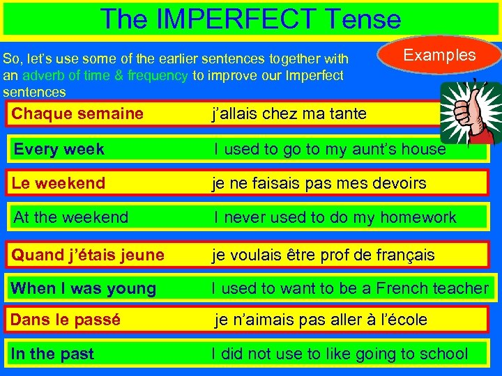 The IMPERFECT Tense So, let's use some of the earlier sentences together with an