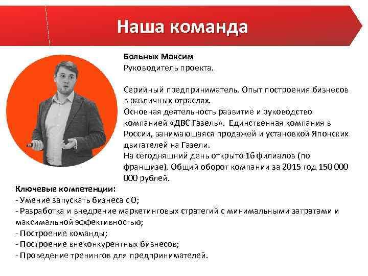 Наша команда Больных Максим Руководитель проекта. Серийный предприниматель. Опыт построения бизнесов в различных отраслях.