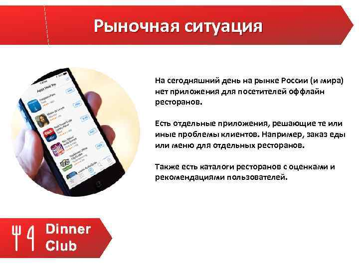Рыночная ситуация На сегодняшний день на рынке России (и мира) нет приложения для посетителей