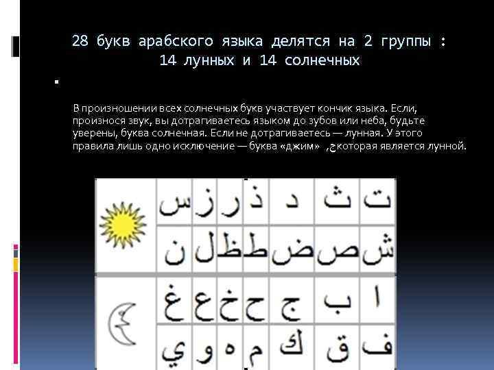 28 букв арабского языка делятся на 2 группы : 14 лунных и 14 солнечных
