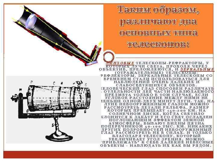 Таким образом, различают два основных типа телескопов: ЛИНЗОВЫЕ ТЕЛЕСКОПЫ-РЕФРАКТОРЫ, У КОТОРЫХ ЛУЧИ СВЕТА, ПРОХОДЯ