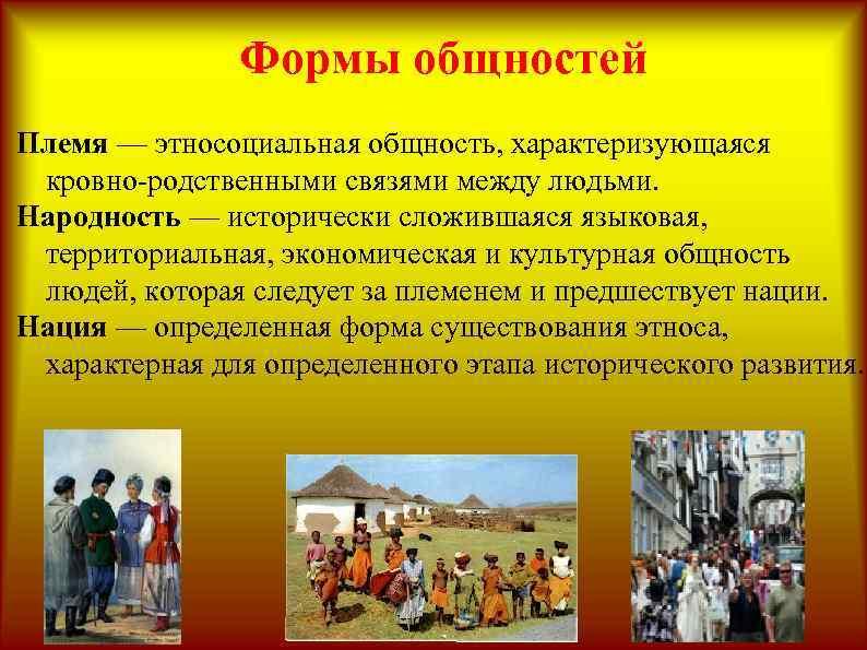 Формы общностей Племя — этносоциальная общность, характеризующаяся кровно-родственными связями между людьми. Народность — исторически