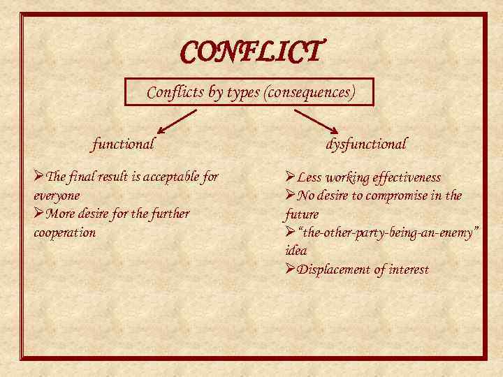 CONFLICT Conflicts by types (consequences) functional ØThe final result is acceptable for everyone ØMore