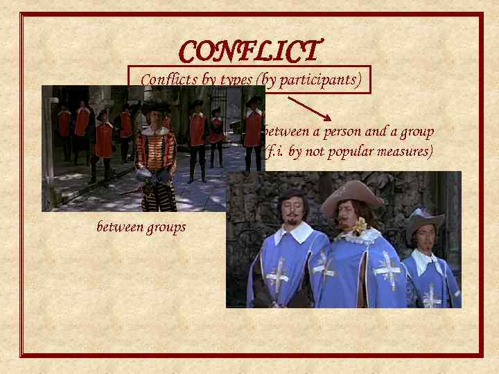 CONFLICT Conflicts by types (by participants) interpersonal between groups between a person and a