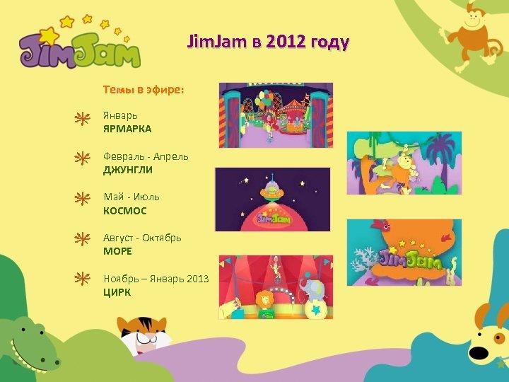 Jim. Jam в 2012 году Темы в эфире: Январь ЯРМАРКА Февраль - Апрель ДЖУНГЛИ