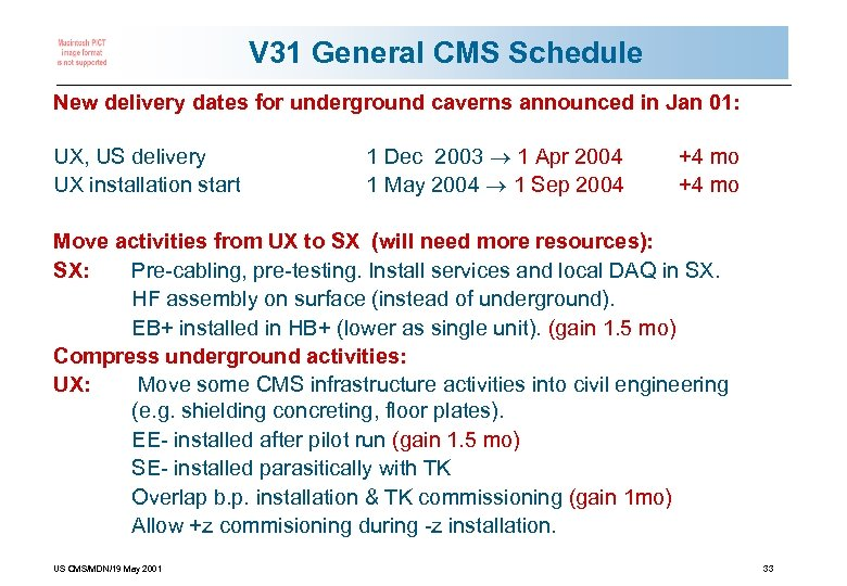 V 31 General CMS Schedule New delivery dates for underground caverns announced in Jan
