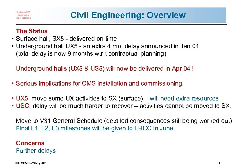 Civil Engineering: Overview The Status • Surface hall, SX 5 - delivered on time