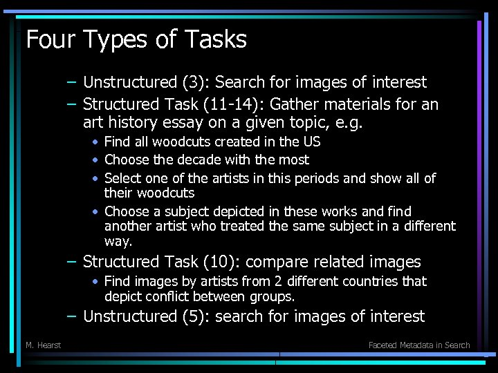 Four Types of Tasks – Unstructured (3): Search for images of interest – Structured