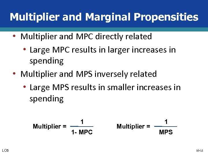 Multiplier and Marginal Propensities • Multiplier and MPC directly related • Large MPC results