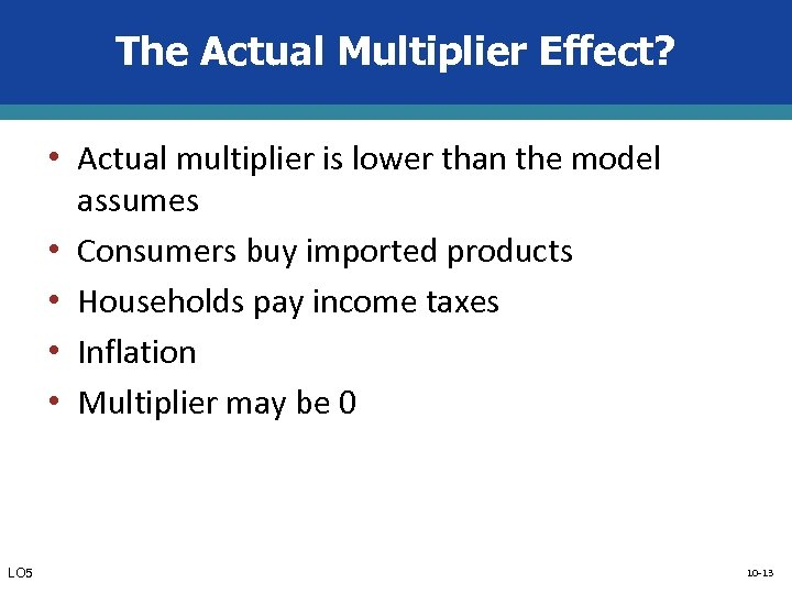The Actual Multiplier Effect? • Actual multiplier is lower than the model • •