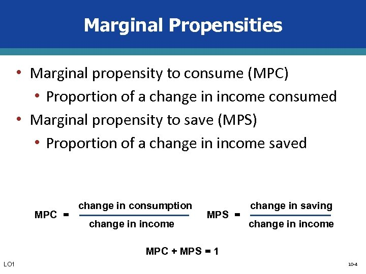 Marginal Propensities • Marginal propensity to consume (MPC) • Proportion of a change in