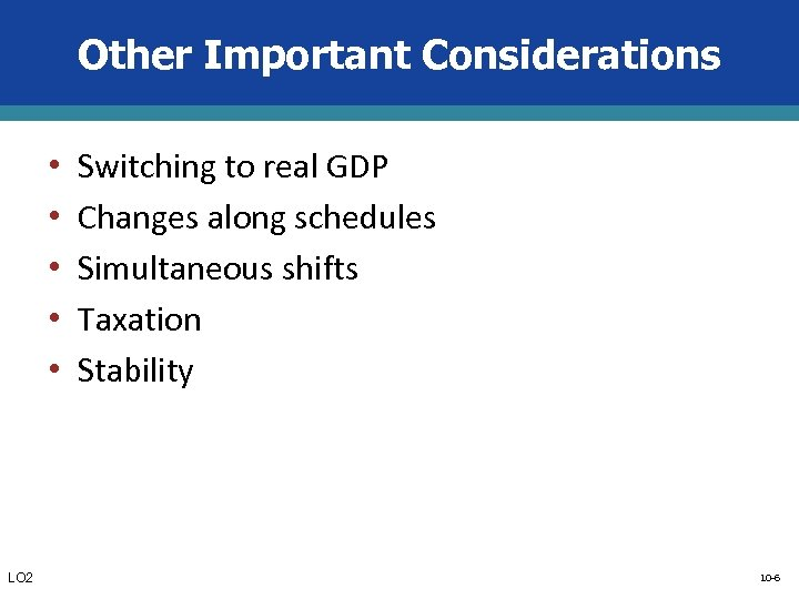 Other Important Considerations • • • LO 2 Switching to real GDP Changes along