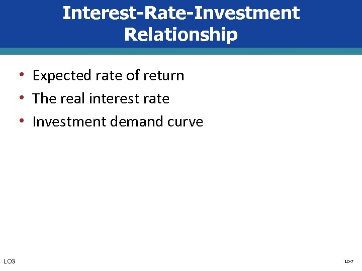 Interest-Rate-Investment Relationship • Expected rate of return • The real interest rate • Investment