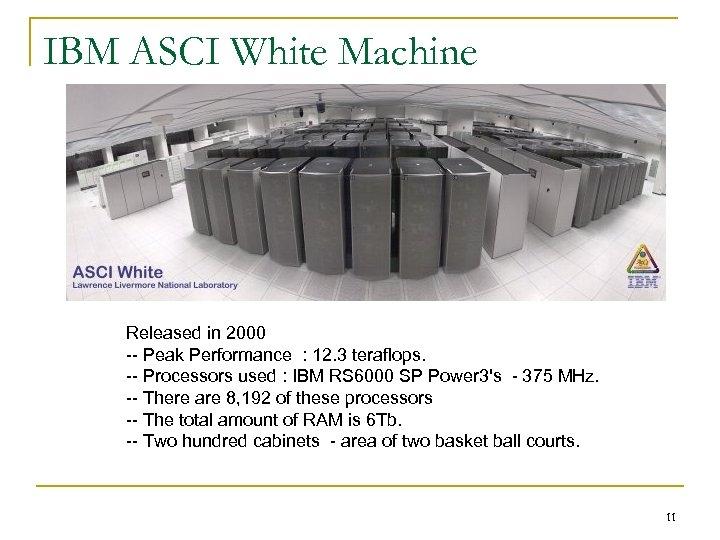 IBM ASCI White Machine Released in 2000 -- Peak Performance : 12. 3 teraflops.
