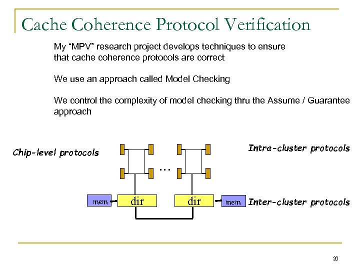"Cache Coherence Protocol Verification My ""MPV"" research project develops techniques to ensure that cache"