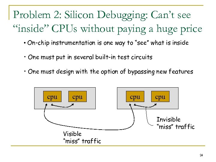 "Problem 2: Silicon Debugging: Can't see ""inside"" CPUs without paying a huge price •"