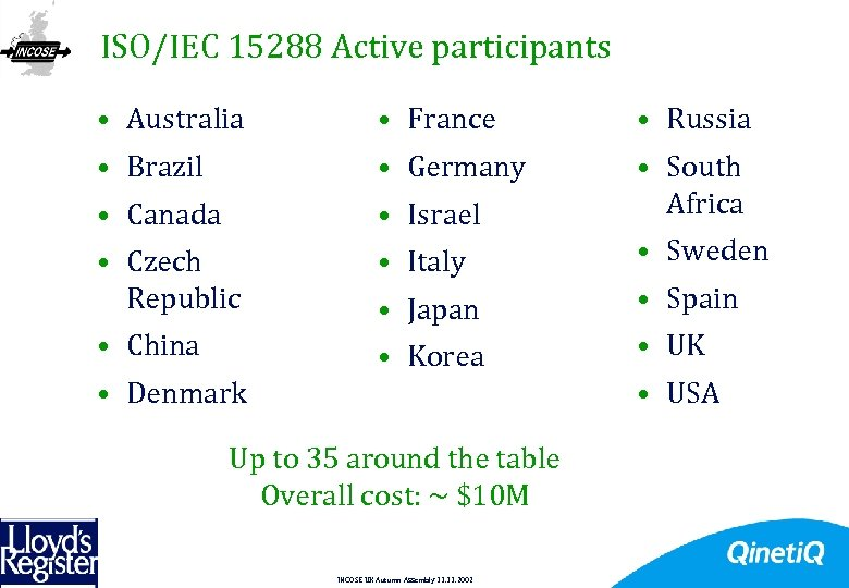 ISO/IEC 15288 Active participants 5 • Australia • France • Russia • Brazil •