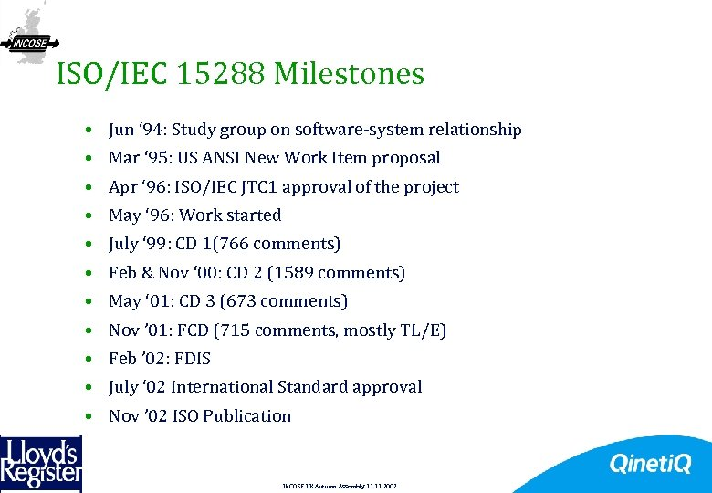 6 ISO/IEC 15288 Milestones • Jun ' 94: Study group on software-system relationship •
