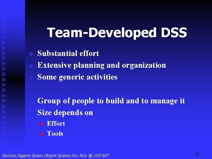 Team-Developed DSS n n Substantial effort Extensive planning and organization Some generic activities Group