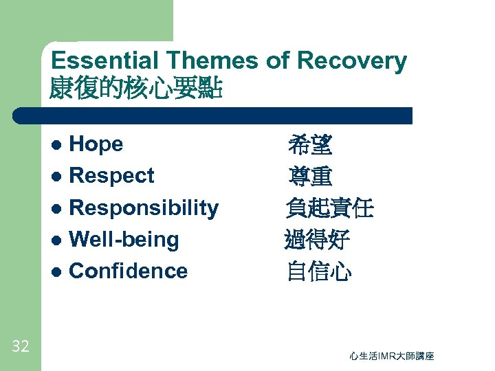 Essential Themes of Recovery 康復的核心要點 Hope l Respect l Responsibility l Well-being l Confidence