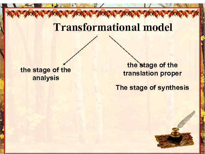 Transformational model the stage of the analysis the stage of the translation proper The