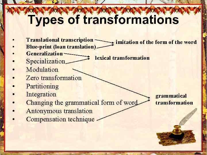 Types of transformations • • • Translational transcription imitation of the form of the