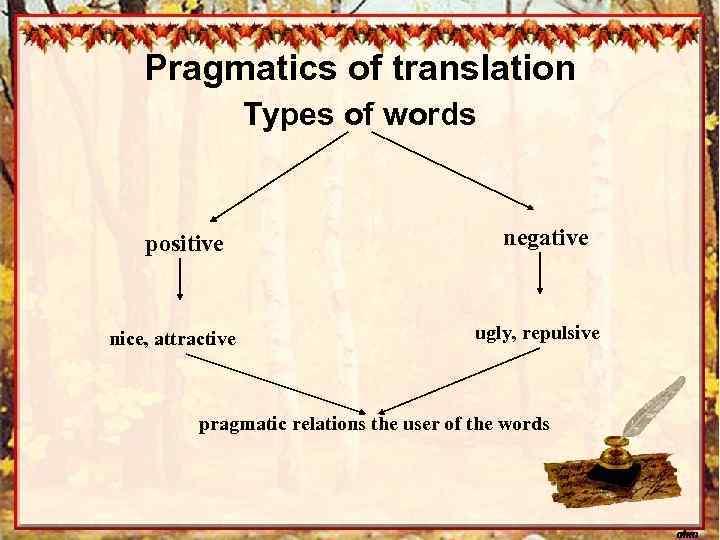 Pragmatics of translation Types of words positive nice, attractive negative ugly, repulsive pragmatic relations