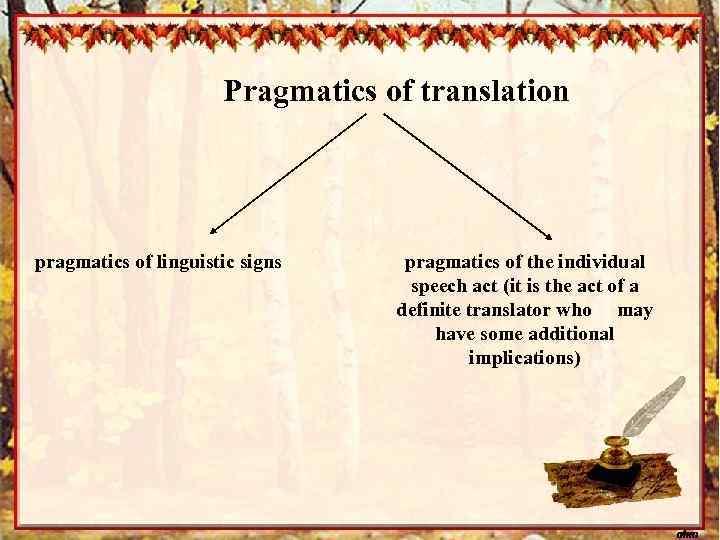 Pragmatics of translation pragmatics of linguistic signs pragmatics of the individual speech act (it
