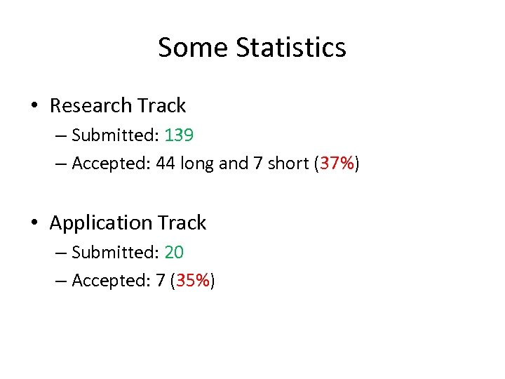 Some Statistics • Research Track – Submitted: 139 – Accepted: 44 long and 7