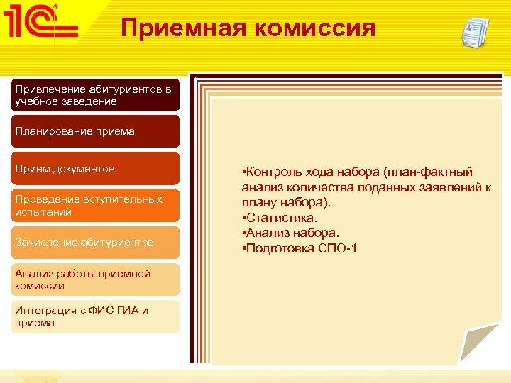Приемная комиссия Привлечение абитуриентов в учебное заведение Планирование приема Прием документов Проведение вступительных испытаний