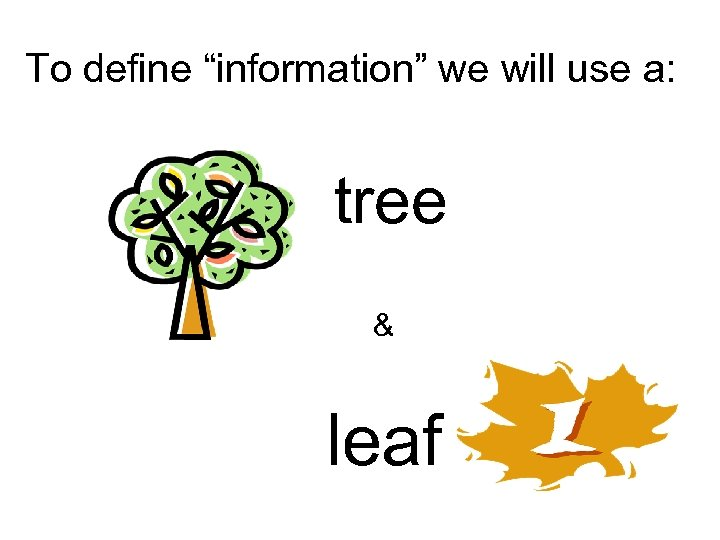 "To define ""information"" we will use a: tree & leaf"