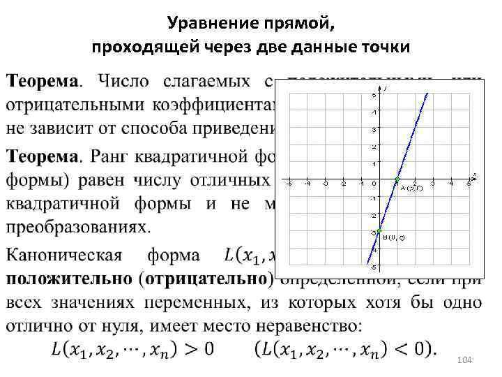 Уравнение прямой, проходящей через две данные точки 104