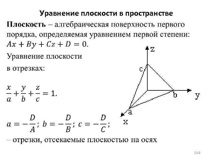 Уравнение плоскости в пространстве 114