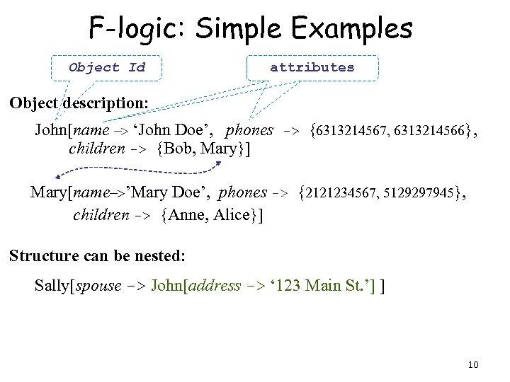 F-logic: Simple Examples Object Id attributes Object description: John[name -> 'John Doe', phones ->