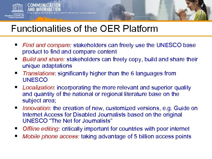 Functionalities of the OER Platform § Find and compare: stakeholders can freely use the