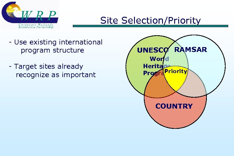 Site Selection/Priority - Use existing international program structure - Target sites already recognize as