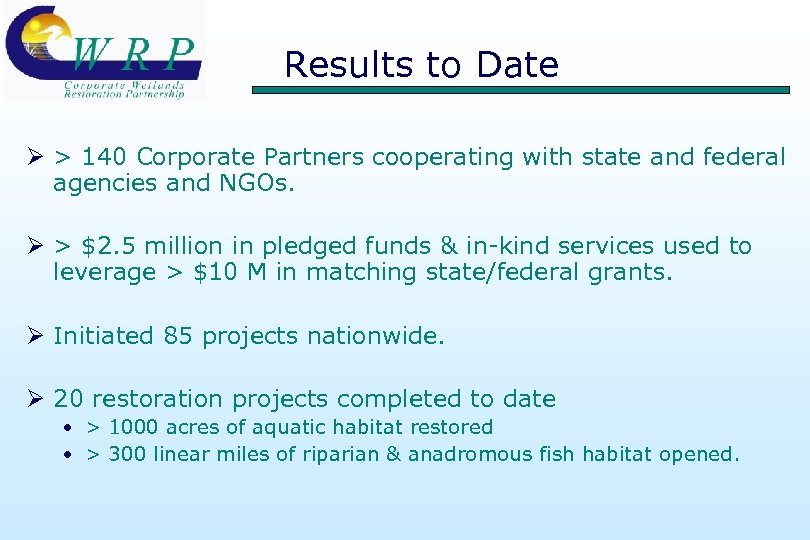 Results to Date Ø > 140 Corporate Partners cooperating with state and federal agencies