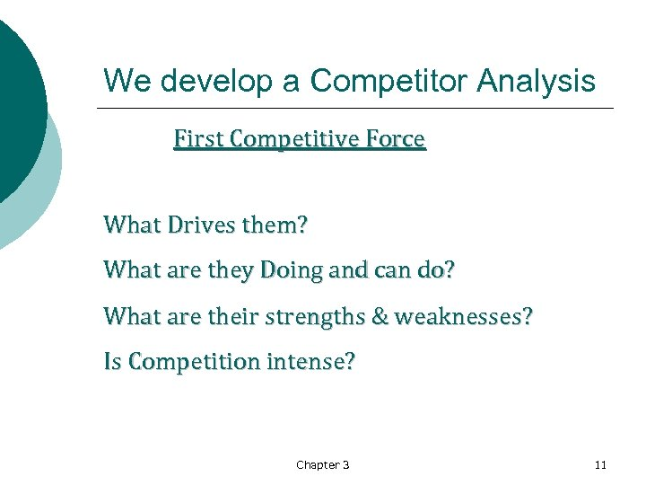 We develop a Competitor Analysis First Competitive Force What Drives them? What are they