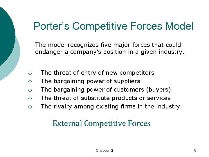 Porter's Competitive Forces Model The model recognizes five major forces that could endanger a