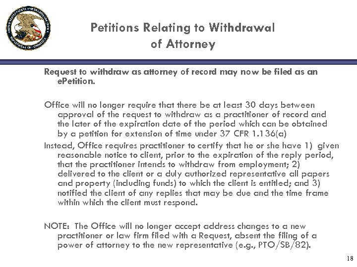 Petitions Relating to Withdrawal of Attorney Request to withdraw as attorney of record may