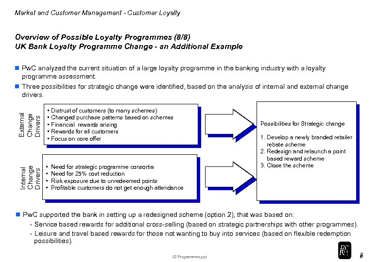 Market and Customer Management - Customer Loyalty Overview of Possible Loyalty Programmes (8/8) UK