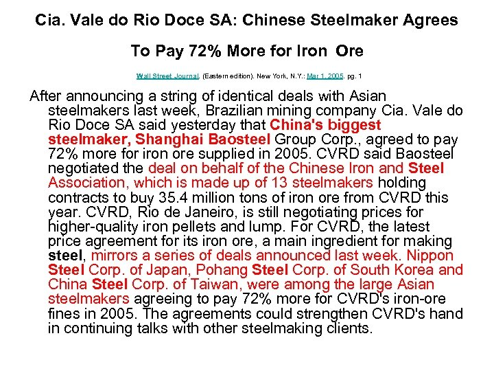 Cia. Vale do Rio Doce SA: Chinese Steelmaker Agrees To Pay 72% More for