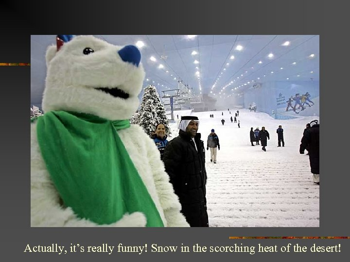 Actually, it's really funny! Snow in the scorching heat of the desert!