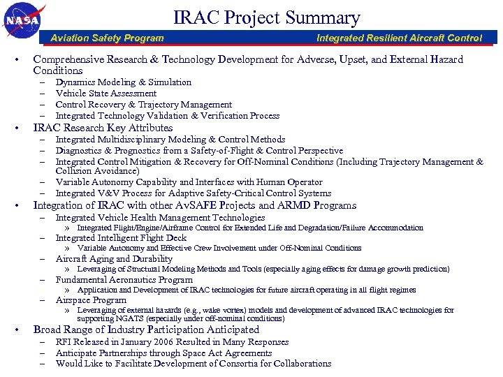 IRAC Project Summary Aviation Safety Program • Comprehensive Research & Technology Development for Adverse,