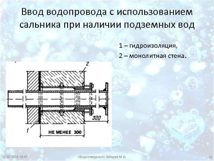 Ввод водопровода с использованием сальника при наличии подземных вод 1 – гидроизоляция, 2 –