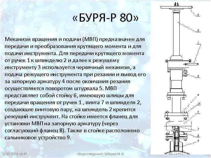 «БУРЯ-Р 80» Механизм вращения и подачи (МВП) предназначен для передачи и преобразования крутящего