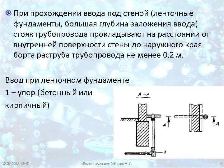 При прохождении ввода под стеной (ленточные фундаменты, большая глубина заложения ввода) стояк трубопровода прокладывают